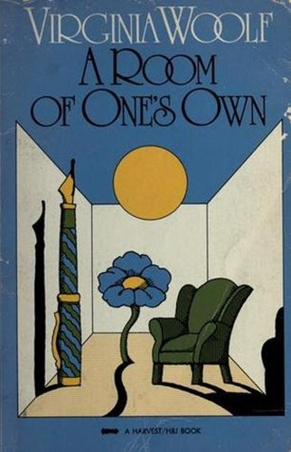 "A blue cover, an overlarge pen, flower and comfortable chair. Illustrates the seminal Virginia Woolf work ""A Room of One's Own"""
