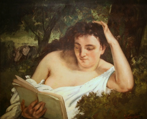 Painting of Woman reading, reclined